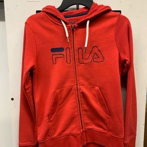 Fila hoodie red small lined hood great condition